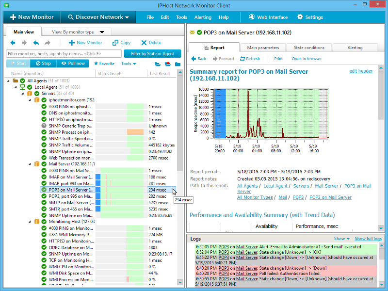 Distributed network & server monitoring tool (SNMP, WMI, websites, bandwidth