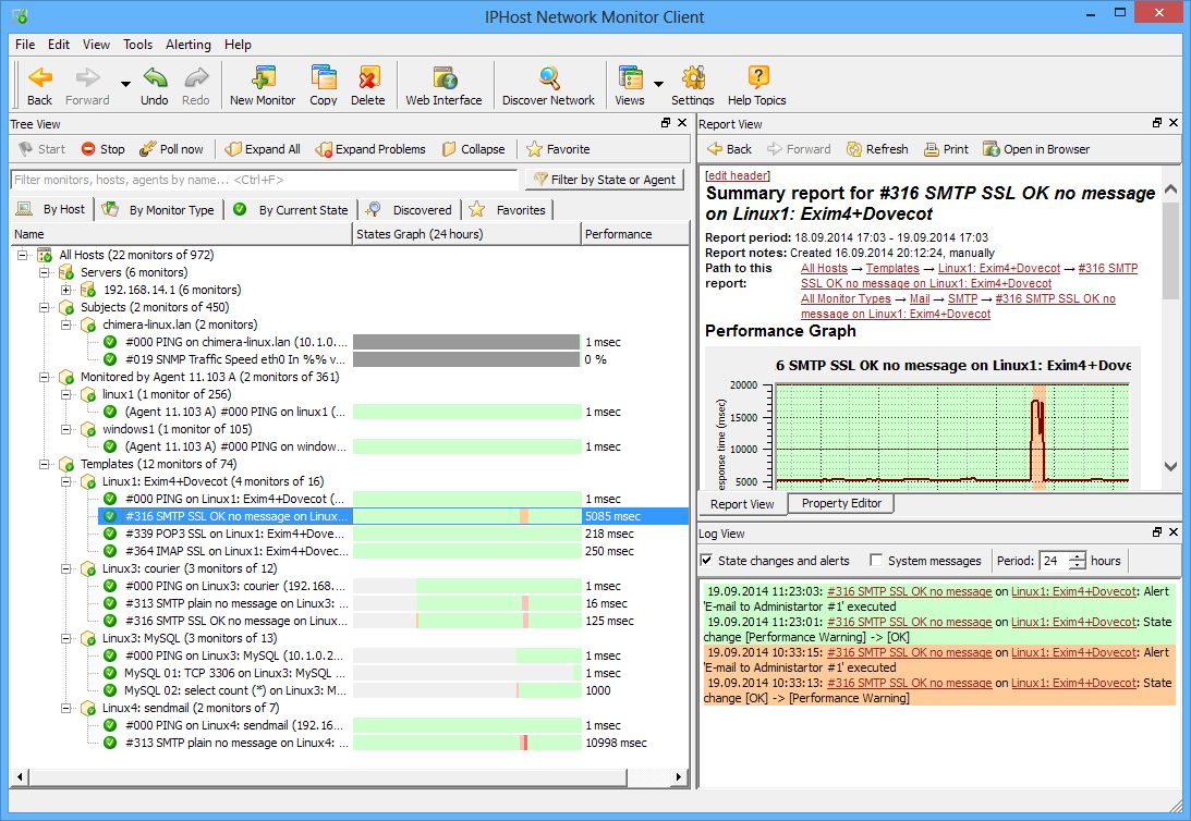 Click to view IPHost Network Monitor Freeware 3.1.5 screenshot